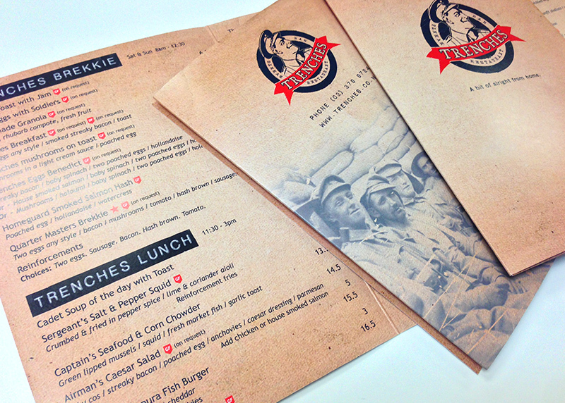menu design and logo design for trenches restaurant in christchurch