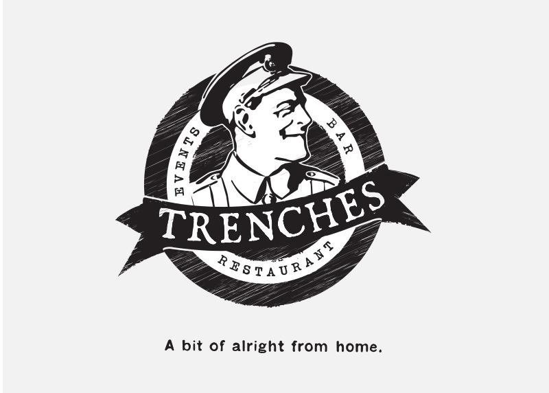 logo design for trenches restaurant in christchurch