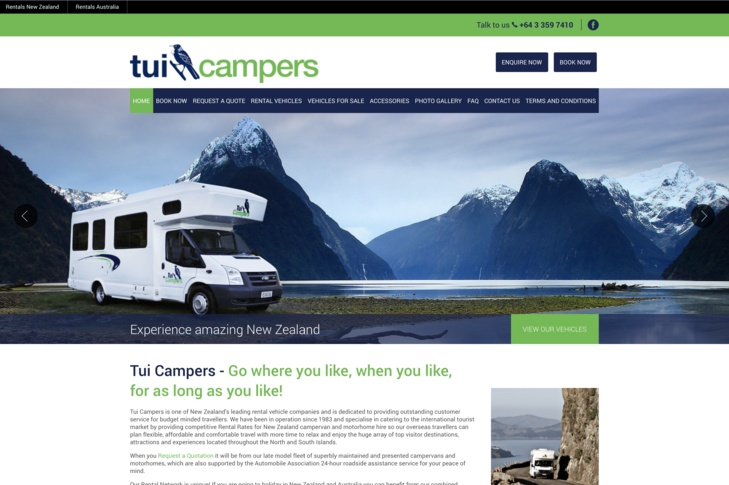 website for Tui Campers New Zealand
