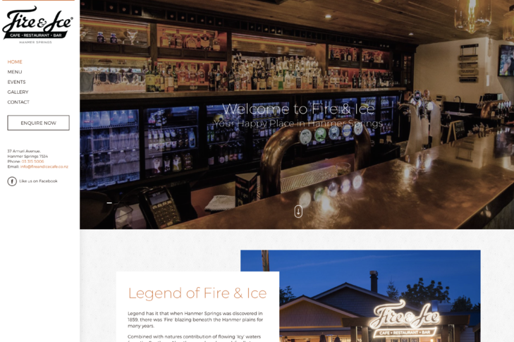 website for fire and ice cafe